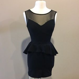 Bebe fitted peplum cocktail dress